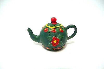 Thimble Handpainted Green Pewter Teapot W/Colorful Red Flowers  In Hi-Relief
