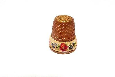 Thimble Vintage Brass Austria Petit Point Band Of Roses & Forget-Me-Nots