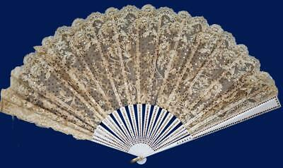 Antique Ladies Folding Fan Hand Held Gauze Lace and Sequins
