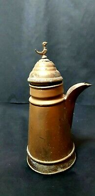 cool,Old Turkish coffee jug for antique decoration made of aluminum painted gold