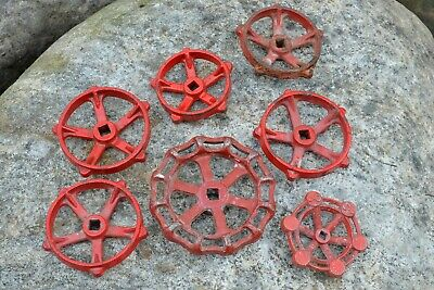 Lot Of 7 Red Spigot Water Valve Knob Handles Steampunk Repurpose INV#1019-1
