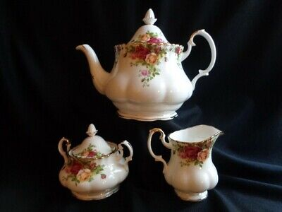 Royal Albert Old Country Roses Lg Teapot-Sugar & Creamer Set-Nvr Used