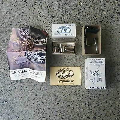 Vintage Braid-Aid Rug Making Kit Clamp Vari Folder Cones Braidkin Needle Booklet