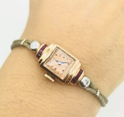 Hamilton Antique Solid 14K Rose Gold Diamond Ruby Vintage Ladies Cocktail Watch
