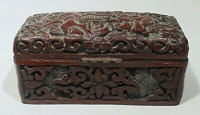 Vintage Antique Chinese Hand Carved Cinnabar Hinged Lacquer Stamp Coin Box