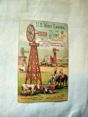 Antique TRADE CARD for U.S.Wind Engine & Pump Co.  Agent in DRYDEN, MICH