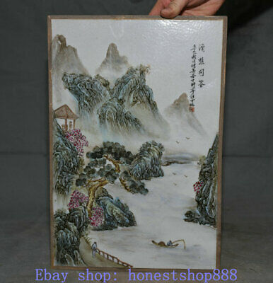 "14.6"" Old Chinese Famille Rose Porcelain landscape Porcelain painting Plaque"