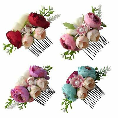 Floral Glitter Flower Hair Comb Baby Pearl Hairpin Girls Hair Clip Leaves