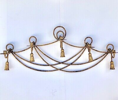 Mid Century Metal Candelabra 5 Light Candle Holder Ornate Gold Wall Mantle