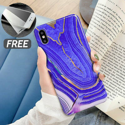 Marble Case For iPhone 11 Pro XS Max XR X 6 7 8 6s Plus Geometric Cover + Glass