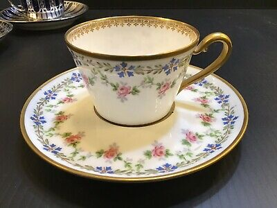 Antique French M.Redon France Limoges Hand Painted Coffee Cup & Saucer MR