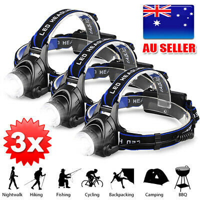 3X LED head torch Headlamp Rechargeable Bike Lights CREE 21000LM XML T6 Camping
