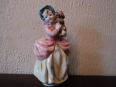 Vintage Early Italian Gloss Hand Painted/Crafted Girl Holding Dog/Pup - Gorgeous