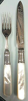 Lovely Victorian Silver Plate & Mother Of Pearl Handled Knife & Fork Set c 1890