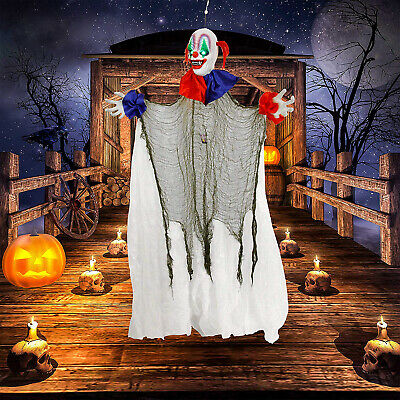 Halloween Haunters 5Foot Animated Hanging Spinning Scary Circus Clown Prop Decor