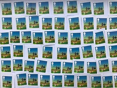 100 X 2nd Class Christmas Xmas Stamps Unfranked on White Paper Job Lot CS5