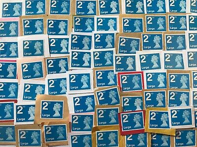 100 X 2nd Class Large Letter Security Type Stamps Unfranked on Paper Job Lot