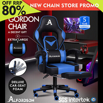 ALFORDSON Gaming Chair Office Seat Thick Padding Footrest Executive Racing Blue