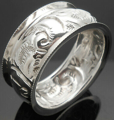 No Initials Sterling Silver Repousse Napkin Ring - Birmingham 1910 Antique