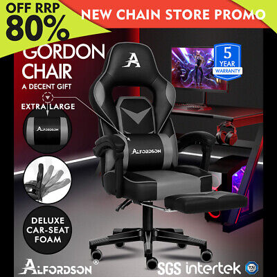 ALFORDSON Gaming Chair Office Seat Thick Padding Footrest Executive Racing Grey