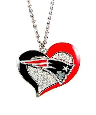 """New England Patriots Football Team NFL Heart Swirl Charm Silver 20"""" Necklace"""