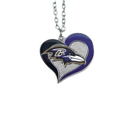 """Baltimore Ravens Football Team NFL Heart Swirl Charm Silver 20"""" Necklace"""