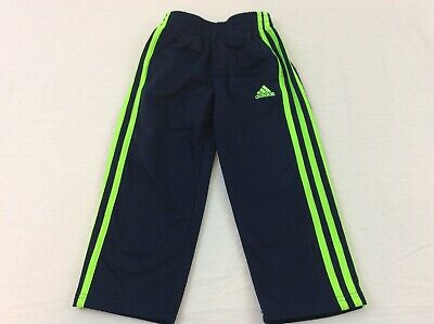 Adidas Blue & Lime Green Striped Boys Youth Size 4 Running Track Pants EUC