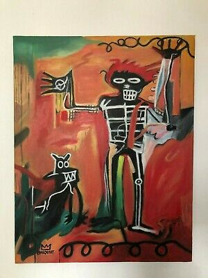 Jean Michel Basquiat Oil Painting On Canvas Signed Sealed 20 X 25.5''