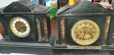 2 slate/marble antique mantle clocks
