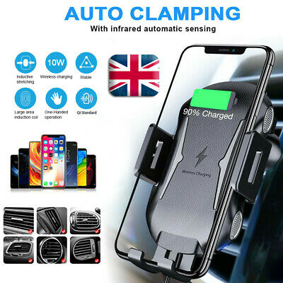 Automatic Clamping 10W Qi Wireless Car Charger Fast Charging Mount Phone Holder