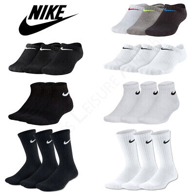 Boys NIKE Socks 3 Pair Pack Junior Kids Trainer Ankle Quarter Cotton Black White