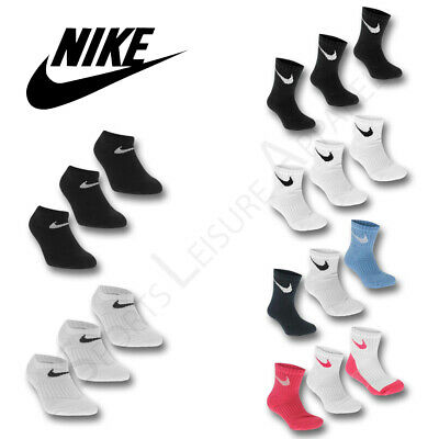 NIKE Boys Socks 3 Pair Pack Junior Kids Trainer Ankle Quarter Cotton Black White