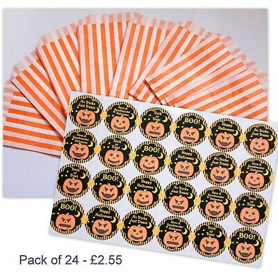 Halloween Party Stickers (30mm) with Orange Striped Candy Sweet Bags - Pack 24