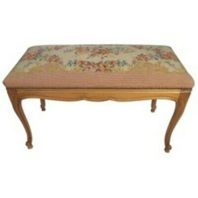Antique French Handmade Tapestry Footstool in Petit Point Upholstery