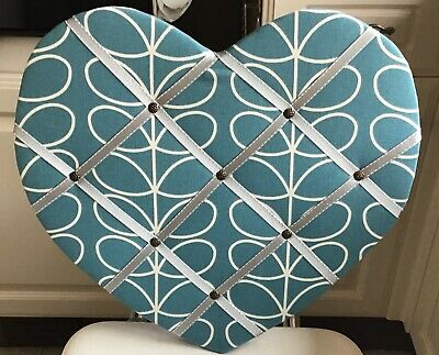 Hand Made Orla Kiely Fabric Pin/Notice/Memory Board Heart Shape