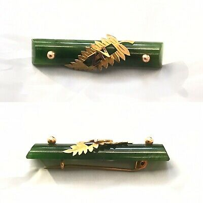 Antique Or Vintage Solid 9ct Yellow Gold & Jade Brooch Chinese Japan Intrest