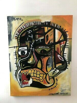 Jean Michel Basquiat Oil Painting On Canvas Signed Sealed 27.5 X 35''