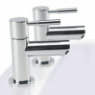 1Pair Modern Chrome Solid Brass Twin Basin Taps Basin Sink Hot & Cold Taps A8T7S