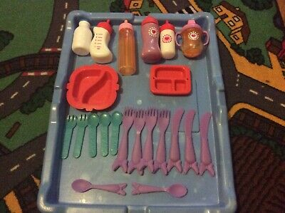 Toy Doll Cutlery Set Chad Valley Baby Bottles Beaker Forks Spoons Plates