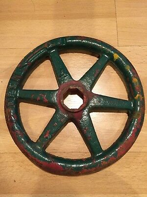"""Vintage Industrial Cast Iron Water Turn Off Valve #4 Steampunk Large 9"""" Green"""