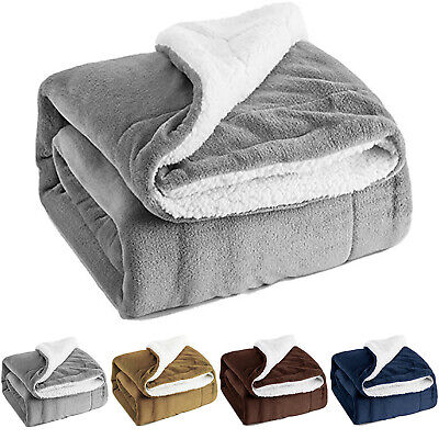Sherpa Blanket Teddy Bear Fleece Throw Reversible Warm Blanket for Bed and Couch