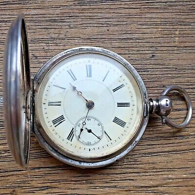 Antique Victorian 1885 Sterling Silver Full Hunter Pocket Watch - TICKING