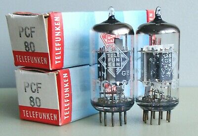 Matched pair Telefunken-Berlin ◊ PCF80 (9A8) tubes, NIB