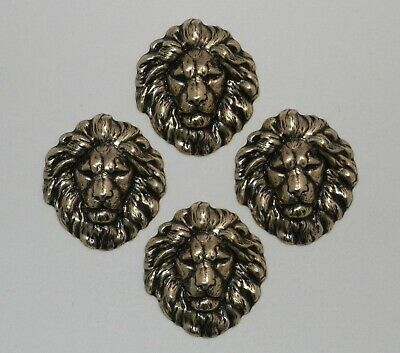 #4192 SMALL ANTIQUED GOLD LION HEAD - 4 Pc Lot