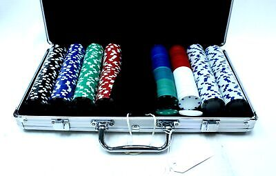 Poker Chip Set W/ Dice & Full Selection Of Chips With Metal Carry Case - W62