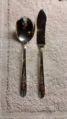 1950 Nobility Plate Royal Rose Pattern Sugar Spoon & Master Butter Knife