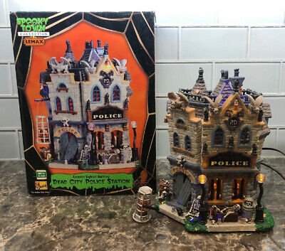 Mint Pristine Retired Dead City Police Station 05001 Lemax Spooky Town Halloween