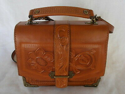 Patricia Nash Brown Tooled Leather Western Stella Purse Hand Bag Crossbody