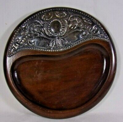 Vintage Repousse Sterling Silver and Mahogany Wood Trinket Key Tray Card Holder