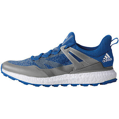 Adidas Crossknit Boost Mens Spikeless Golf Shoes - Clear Onix/Blue - 8